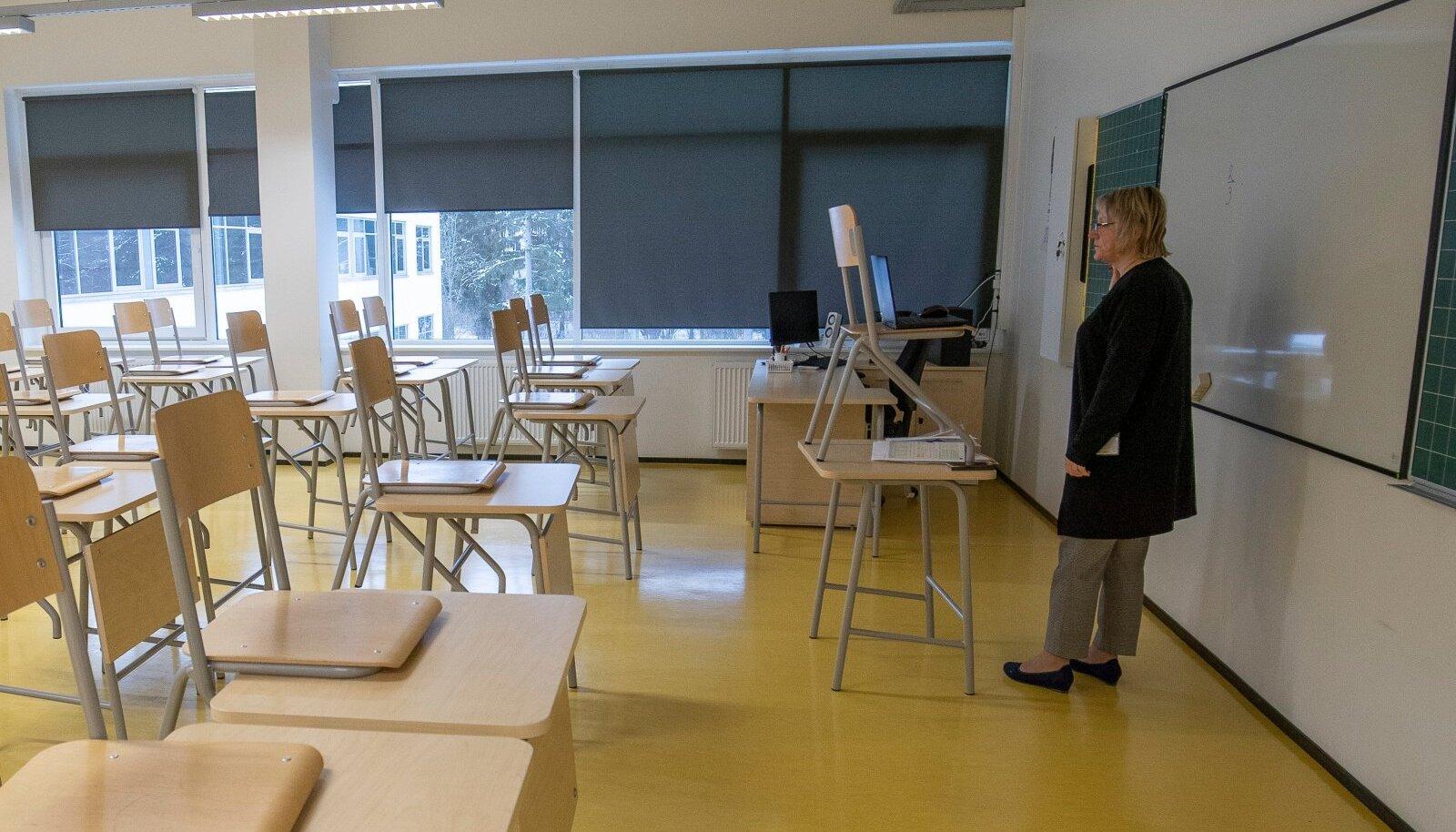 Õpetaja kodus viibivatele õpilastele tundi andmas