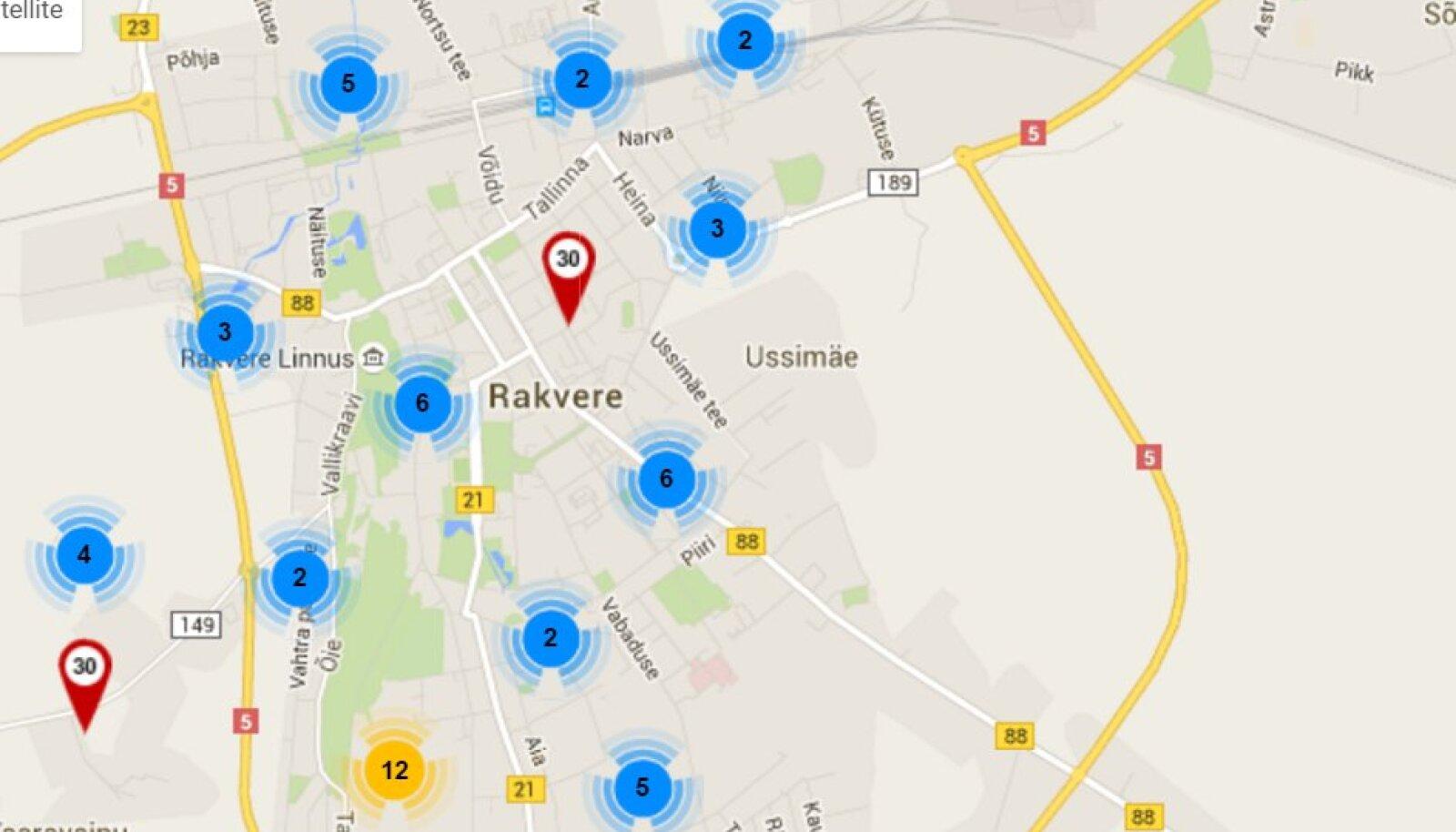 Kuvatõmmis liiklustalgute interaktiivsest kaardist