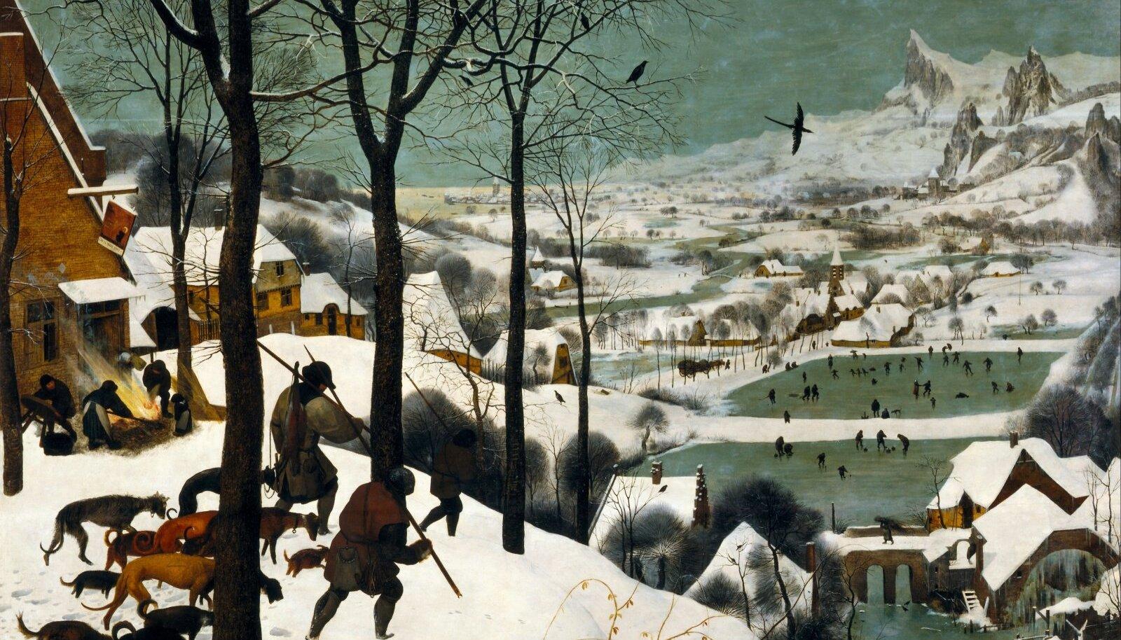 """MÄLESTUS VÄIKESEST JÄÄAJAST: Pieter Bruegel vanema maal """"Jahimehed lumel (1565)."""