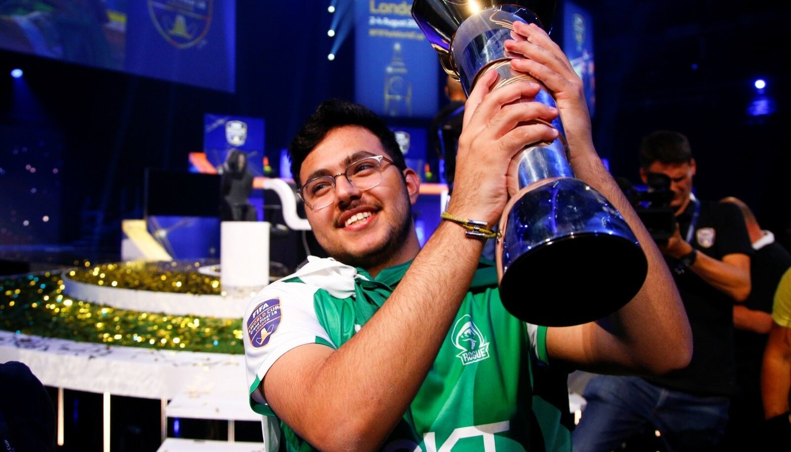 Mosaad 'MSDossary' Aldossary of Saudia Arabia celebrates after defeating Stefano 'Pinna' Pinna of Belgium in the Final of the FIFA eWorld Cup 2018 at The O2 Arena in London