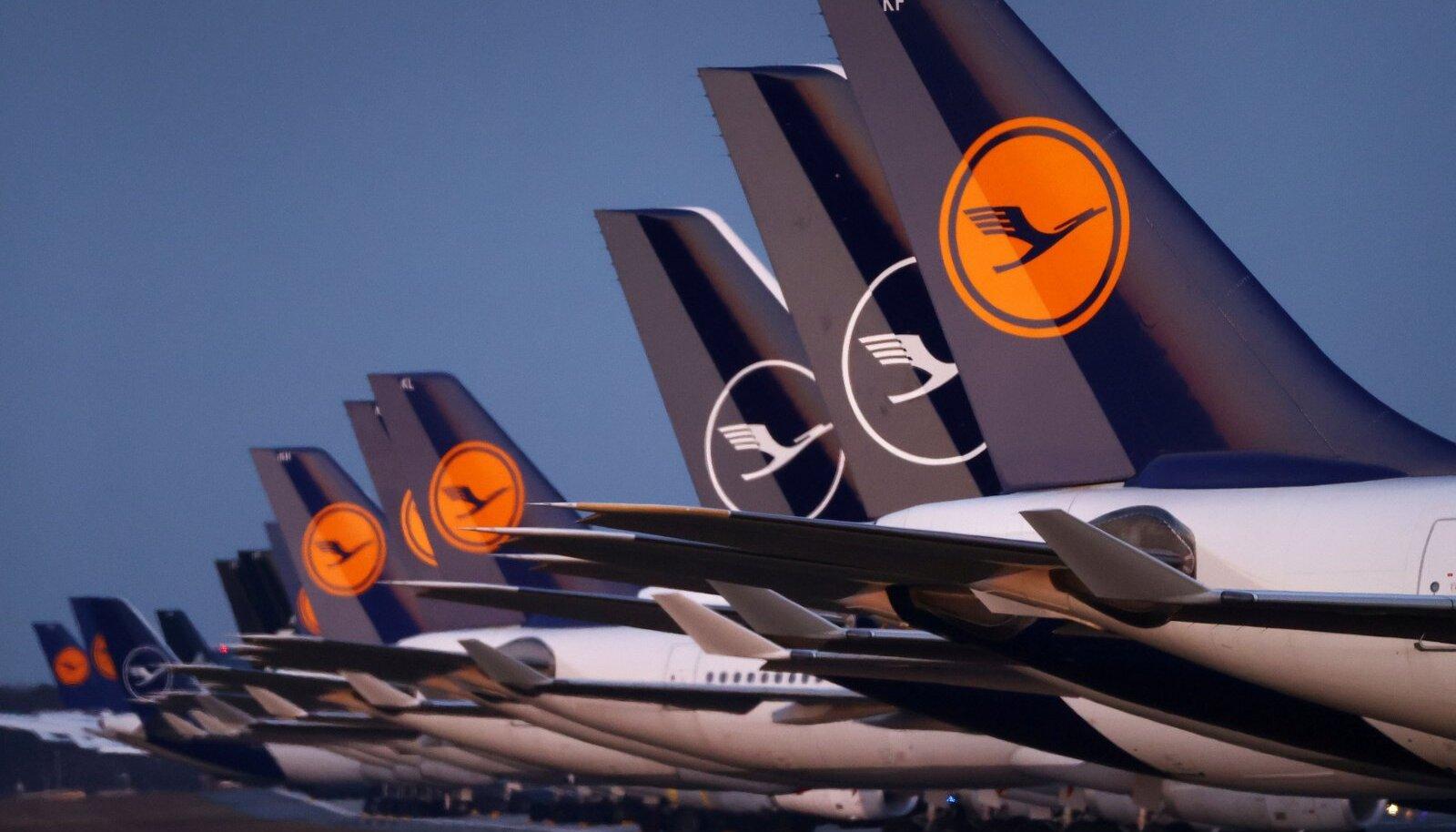 Lufthansa lennukid seisavad Frankfurdi lennujaamas.
