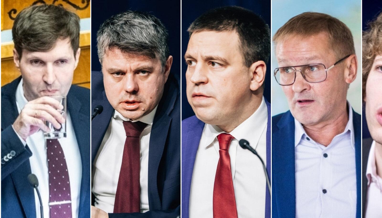 Vasakult: EKRE liider valitsuses Martin Helme, Isamaa esindaja Urmas Reinsalu, peaminister Jüri Ratas, haridusminister Jaak Aab ja sotsiaalminister Tanel Kiik