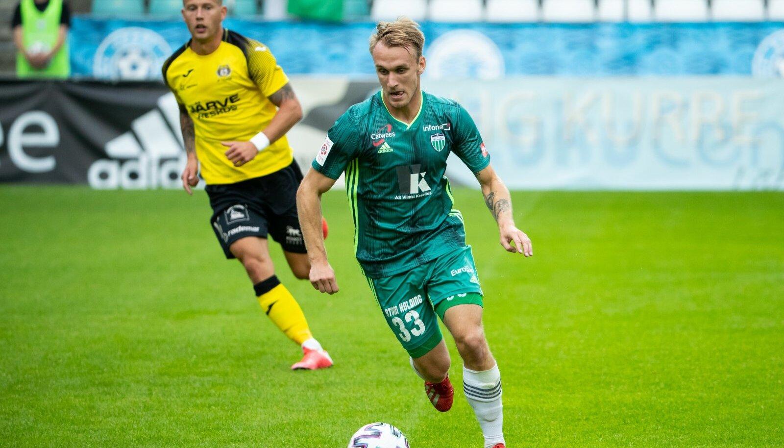 Tallinn, 02.08.2020. Eesti jalgpalli Premium liigas kolmandaks tõusnud FCI Levadia sai Lilleküla staadionil suure võidu, kui tulemusega 5:1 alistati 15. vooru mängus Viljandi Tulevik 5:1.