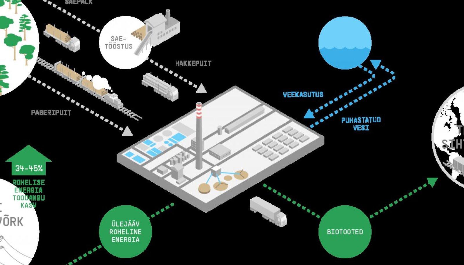 Kavandatava puidurafineerimise tehase toimimise skeem.