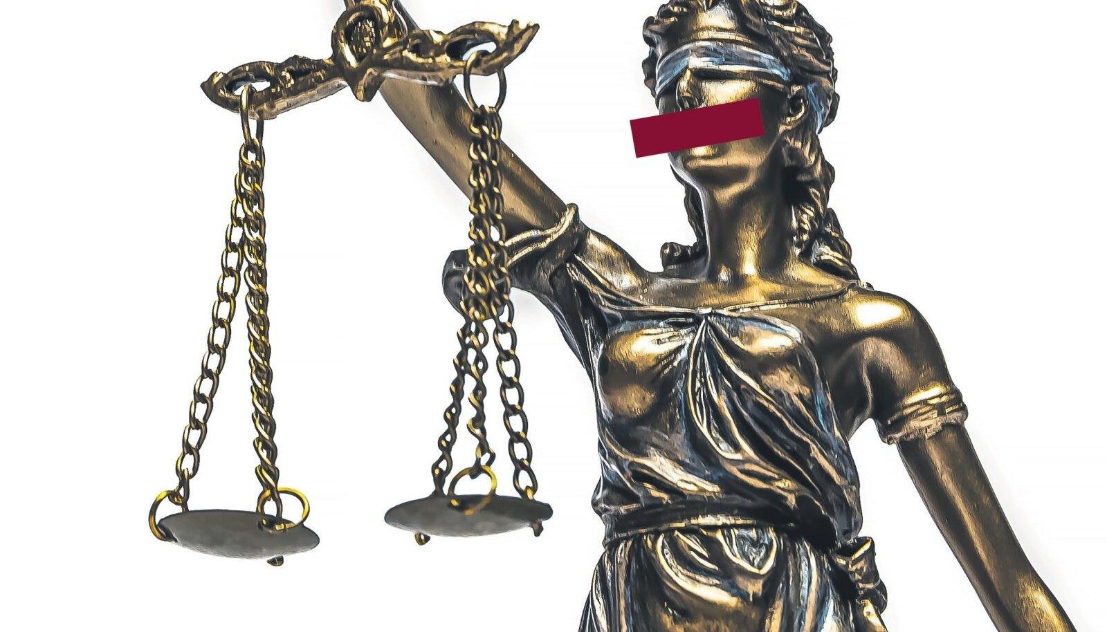 Justitia kinniseotud silmad sümboliseerivad seda, et õigusemõistmises on tähtis ainult seadus. Mis juhtub aga siis, kui seadusandlus äpardub ja kohtumõistja sunnitakse vaikima?