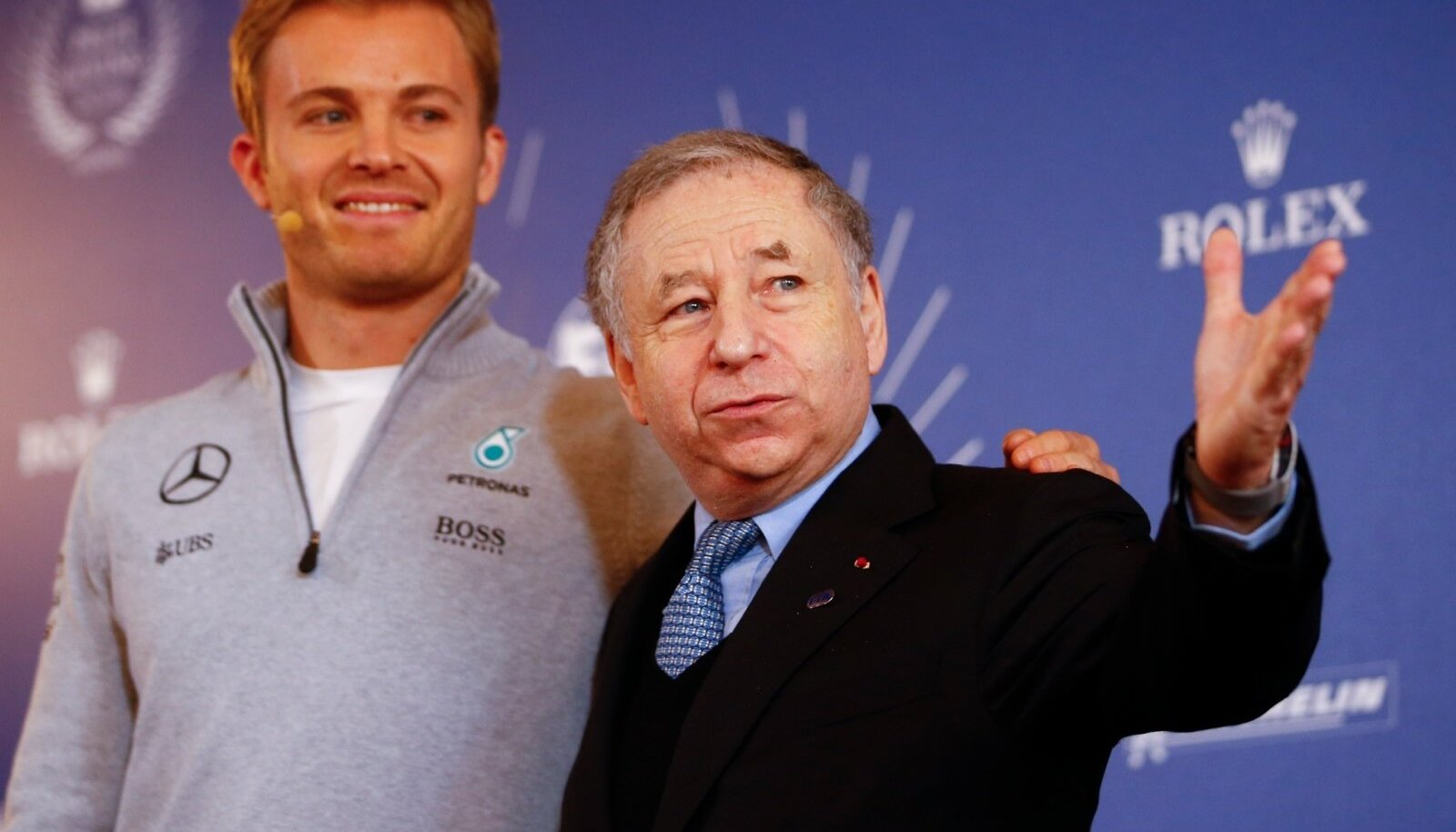 Mercedes' Formula One World Champion Nico Rosberg of Germany poses with Jean Todt, Federation Internationale de l'Automobile (FIA) President in Vienna