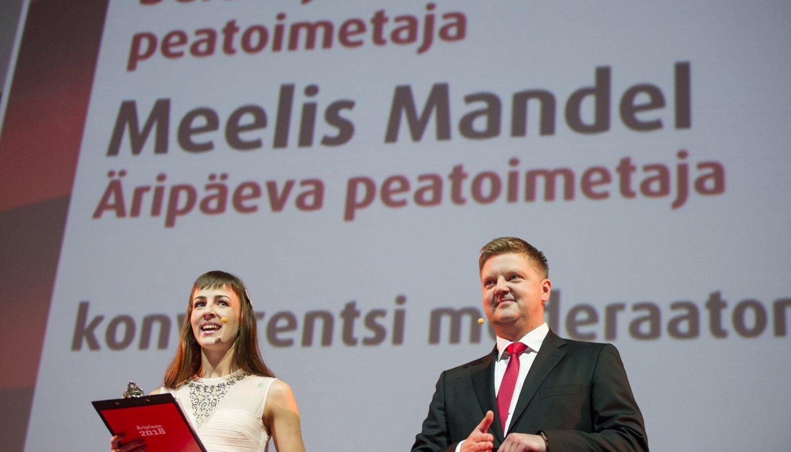 Delovõje Vedomosti toonane peatoimetaja Alyona Stadnik ja Äripäeva peatoimetaja Meelis Mandel Äriplaanil 2018. aastal.