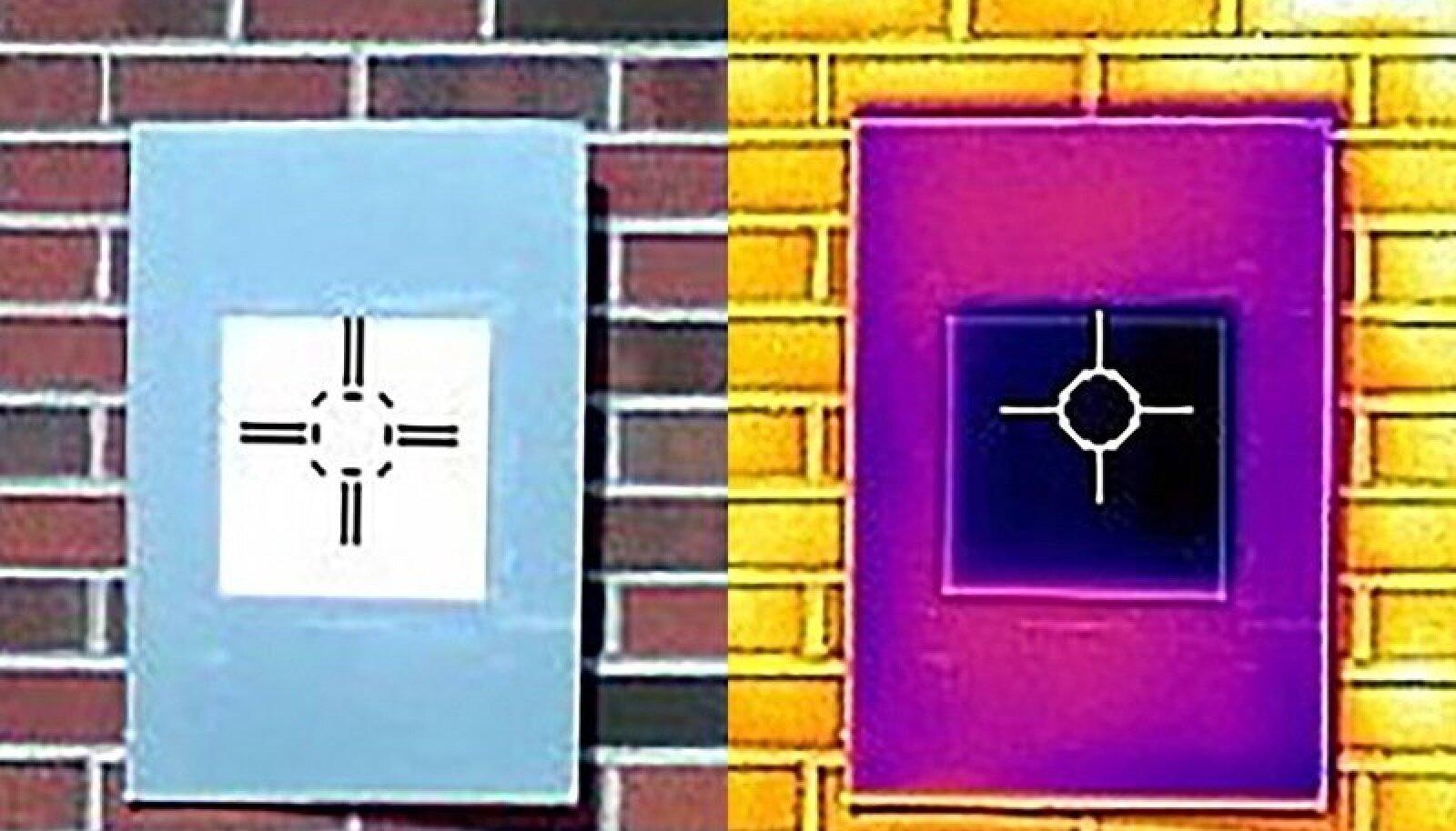 """Infrapunakaamera näitab, kuidas valgeimast valge värvi proovitükk (tumelilla ruudu keskel) jahutab plaadi ümbritsevast õhust madalamale temperatuurile, mida isegi seni müüdavad """"soojust tõrjuvad"""" värvid ei suuda."""