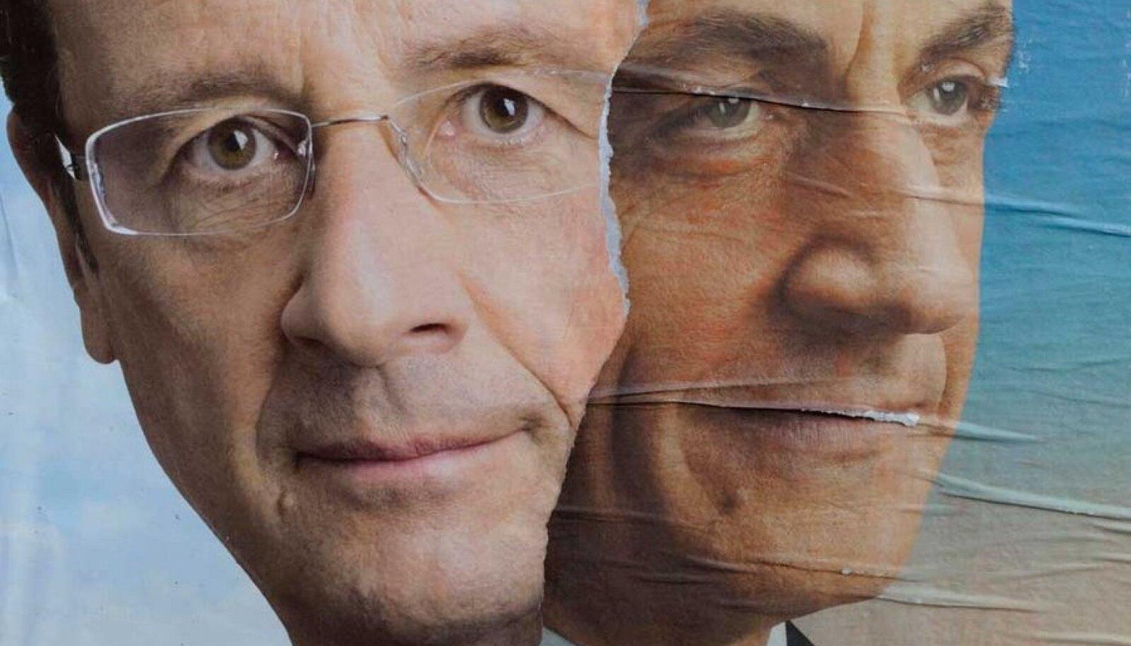 François Hollande'i (vasakul) ja Nicolas Sarkozy teineteise otsa kleebitud valimisplakatid