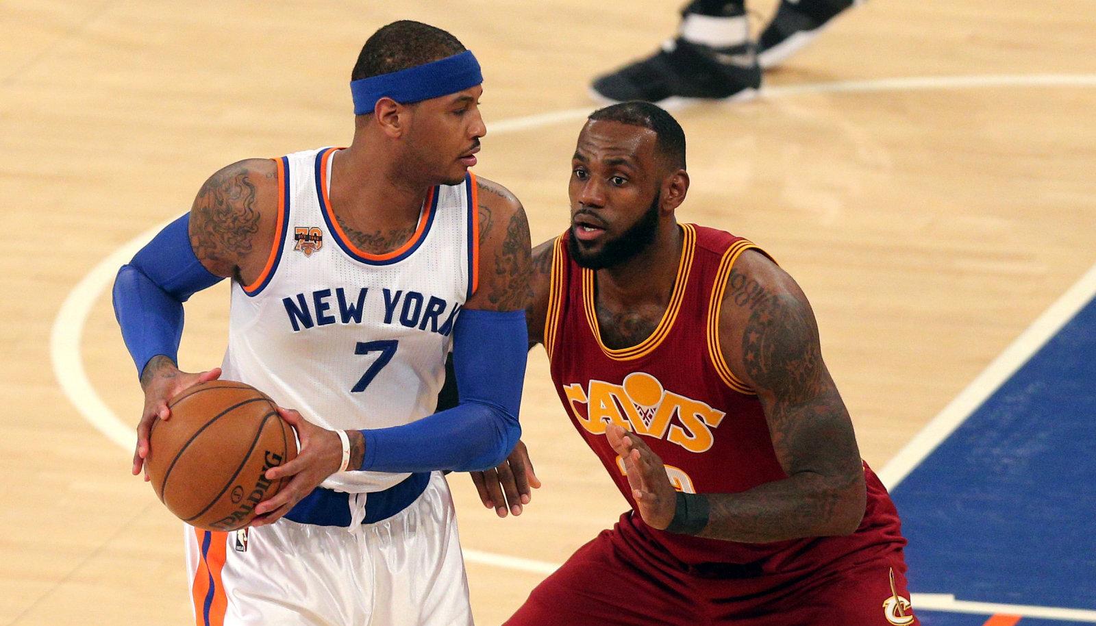 Carmelo Anthony ja LeBron James 2016. aastal New York Knicksi ja Cleveland Cavaliersi kohtumises.