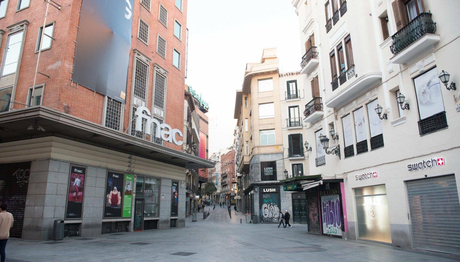 Inimtühjad Madrid tänavad.