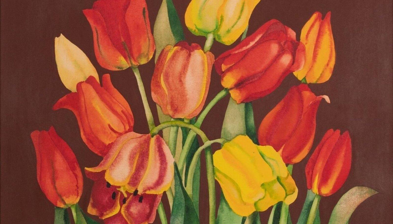 """Malle Leisi tööna esitletud maal """"Tulbid"""" 1960. aastatest."""