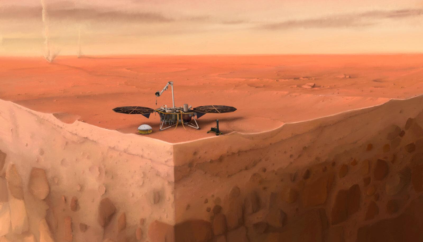 Kunstniku nägemus InSight maandurist Marsil andmeid kogumas
