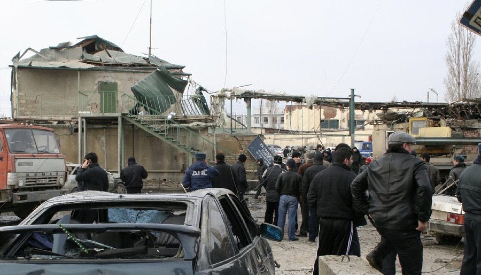 A general view shows the site of a bomb explosion at a special traffic police depot in Russia