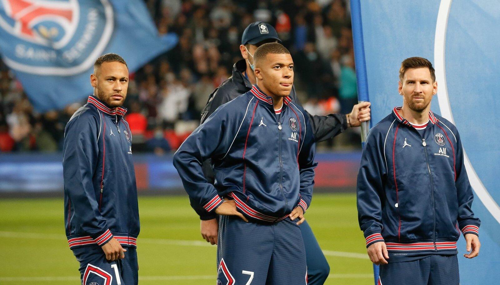 Neymar, Kylian Mbappé ja Lionel Messi