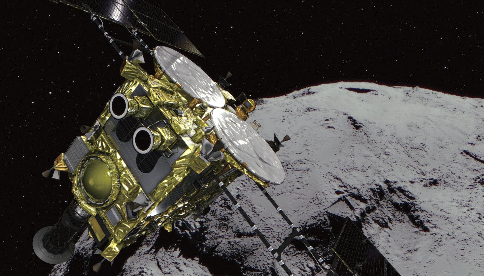 Hayabusa2 ja asteroid kunstniku kujutluses.