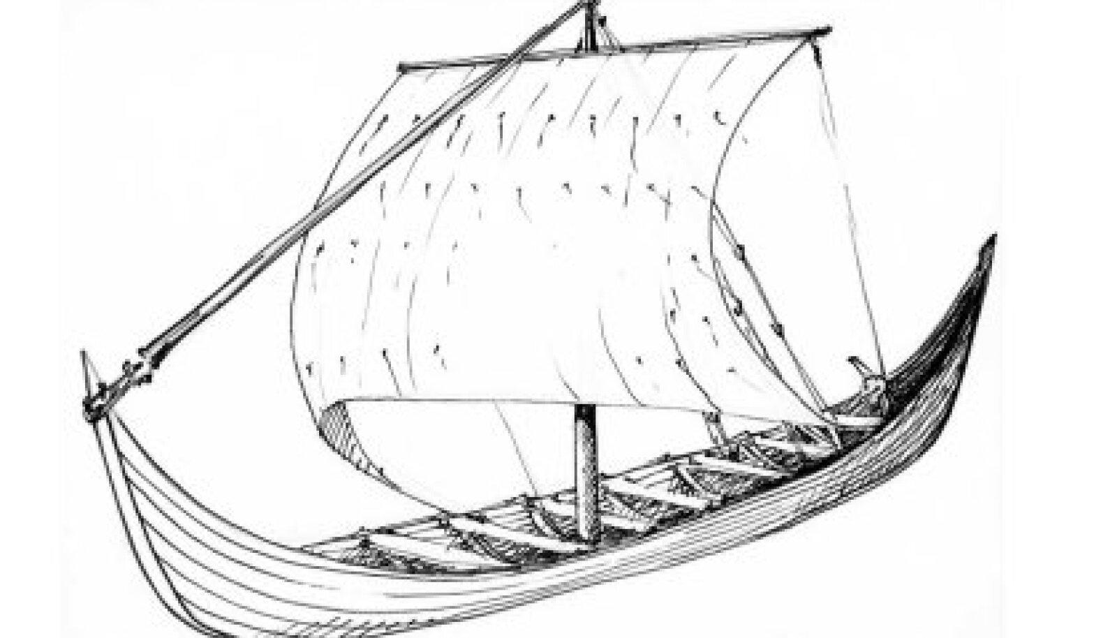 Rekonstruktsioon: Suurem Salmest leitud laev on samasuguste mõõtmetega nagu umbes 690. aastast pärit Kvalsundi (Norra) laev, mida aga peetakse siiski 10 aerupaariga sõudelaevaks. (Anneliis Aunapuu)