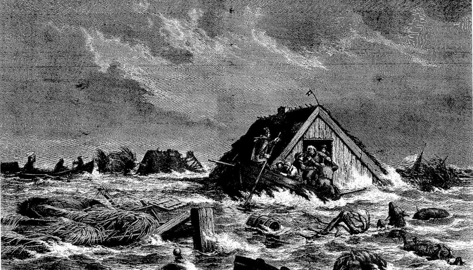 Mitme Taani saare elanikud püüdsid end päästa, seilates üleujutuse tõttu lagunenud hoonete katustel (foto: Wikimedia Commons)