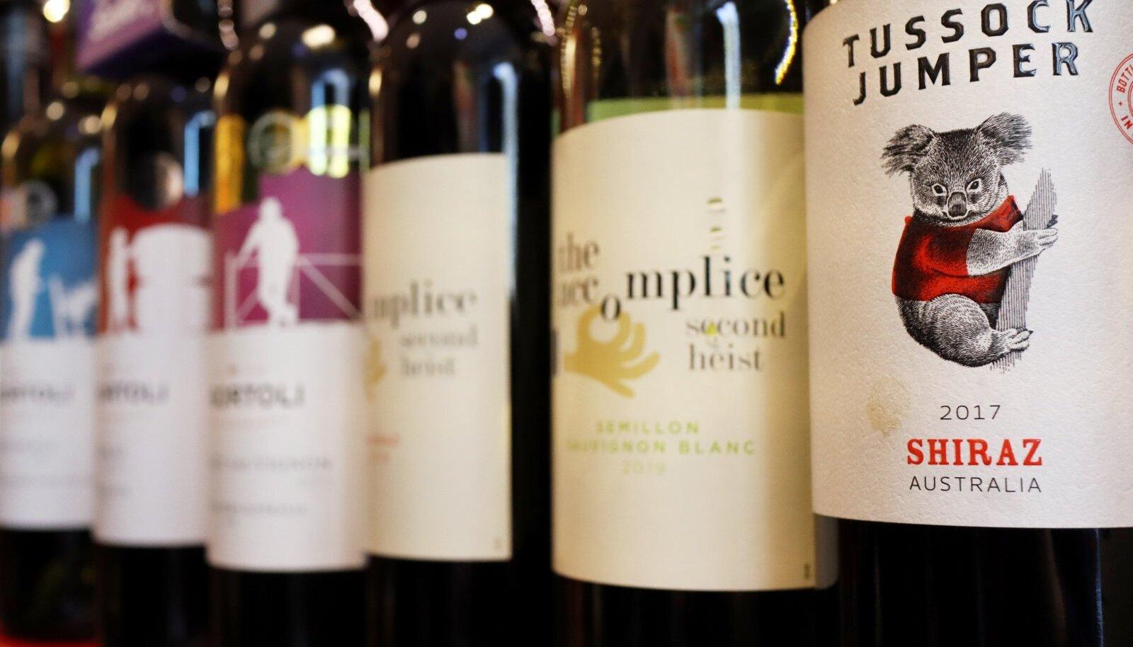 Austraalia veinid Pekingis asuva poe riiulil