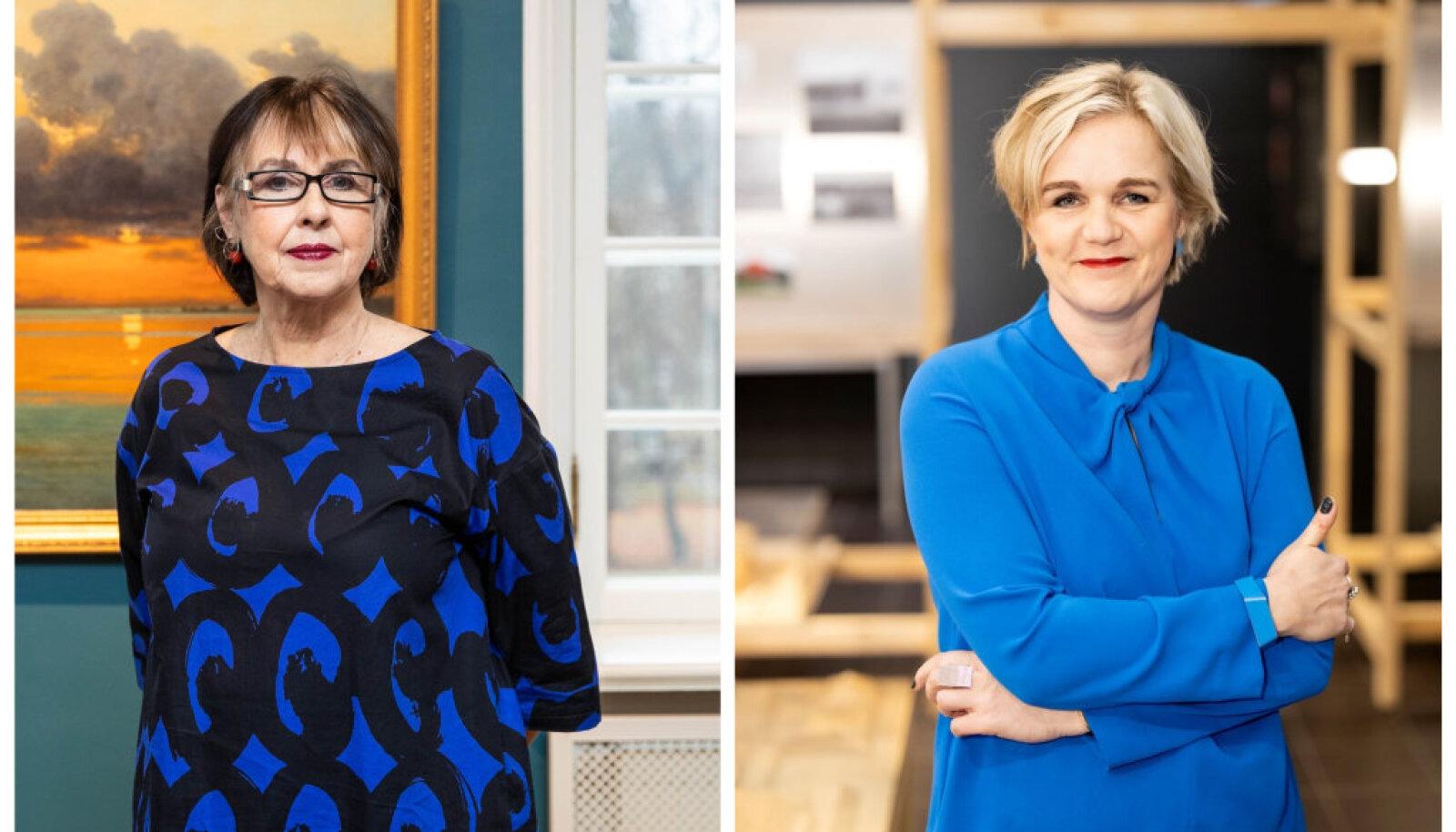 Eesti Kunstimuuseumi peadirektor Sirje Helme (vasakul) ja Arhitektuurimuuseumi direktor Triin Ojari sõnul on piirangud viiruse kontrolli alla saamiseks olulised, kuid need peavad olema põhjendatud. Kultuuriasutuste sulgemine seda ei olnud.