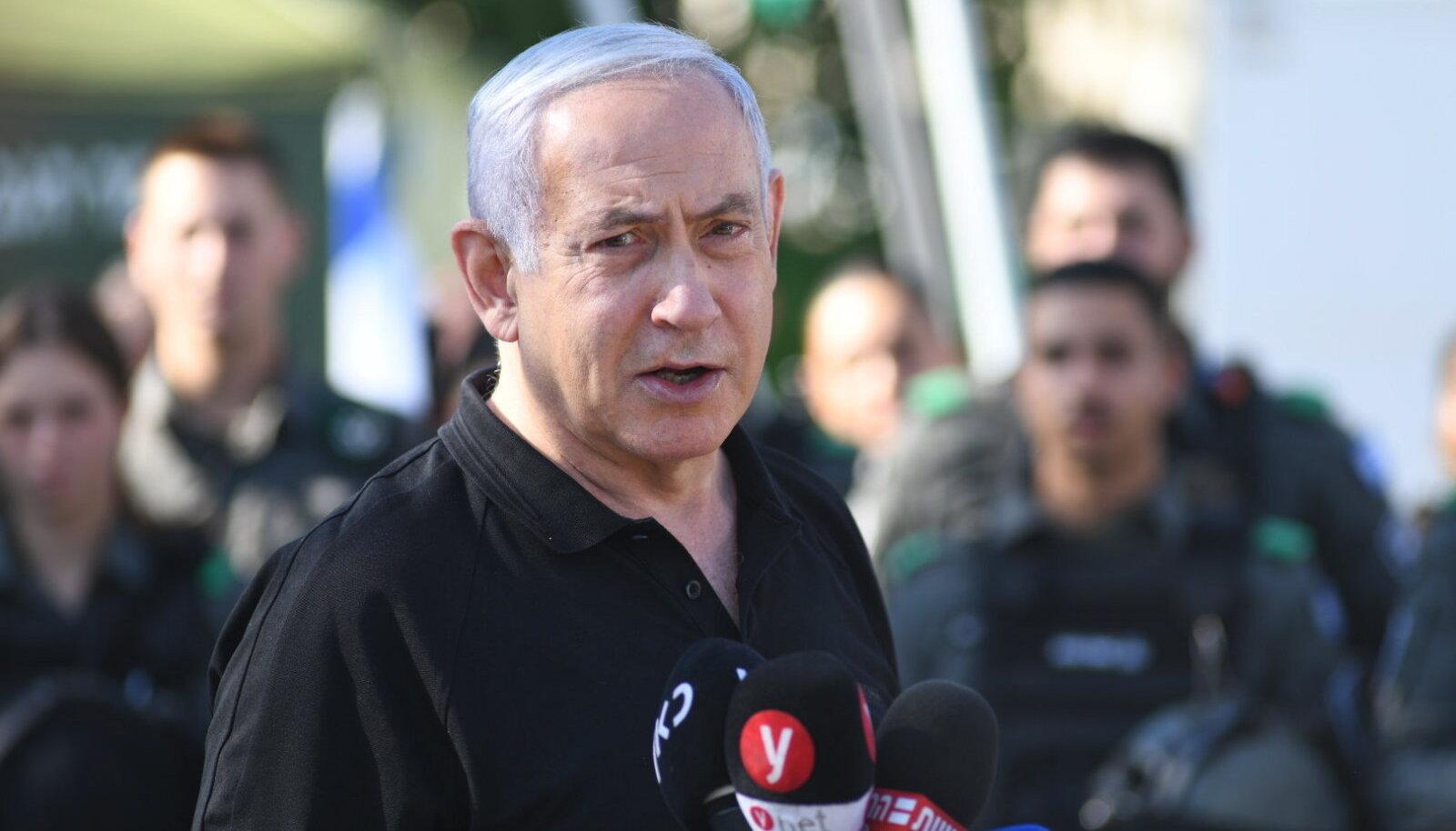Iisraeli peaminister Benyamin Netanyahu eile Tel Avivi lähistel.