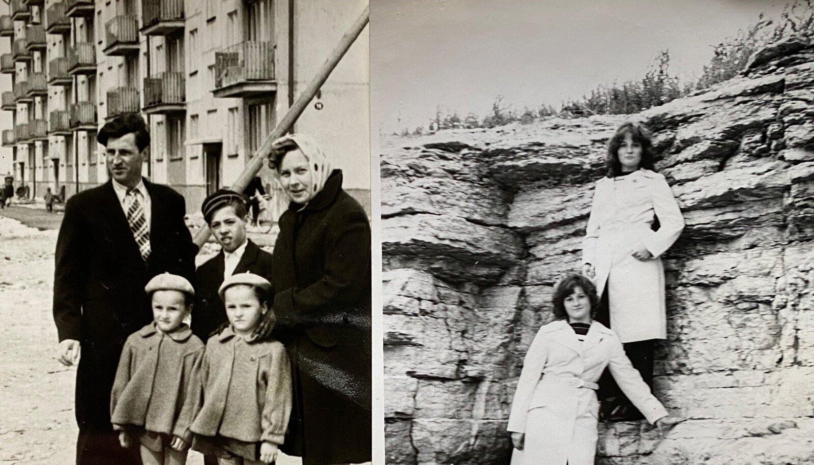 Vasakpoolne pilt: Äsja valminud Pae tn 15 korterelamu ja sinna korteri soetanud perekond.