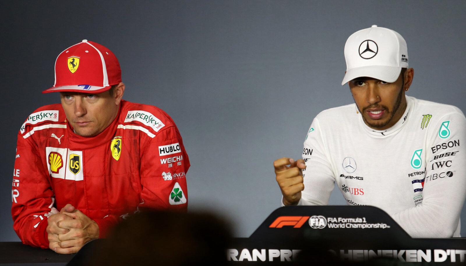 Kimi Räikkönen ja Lewis Hamilton.