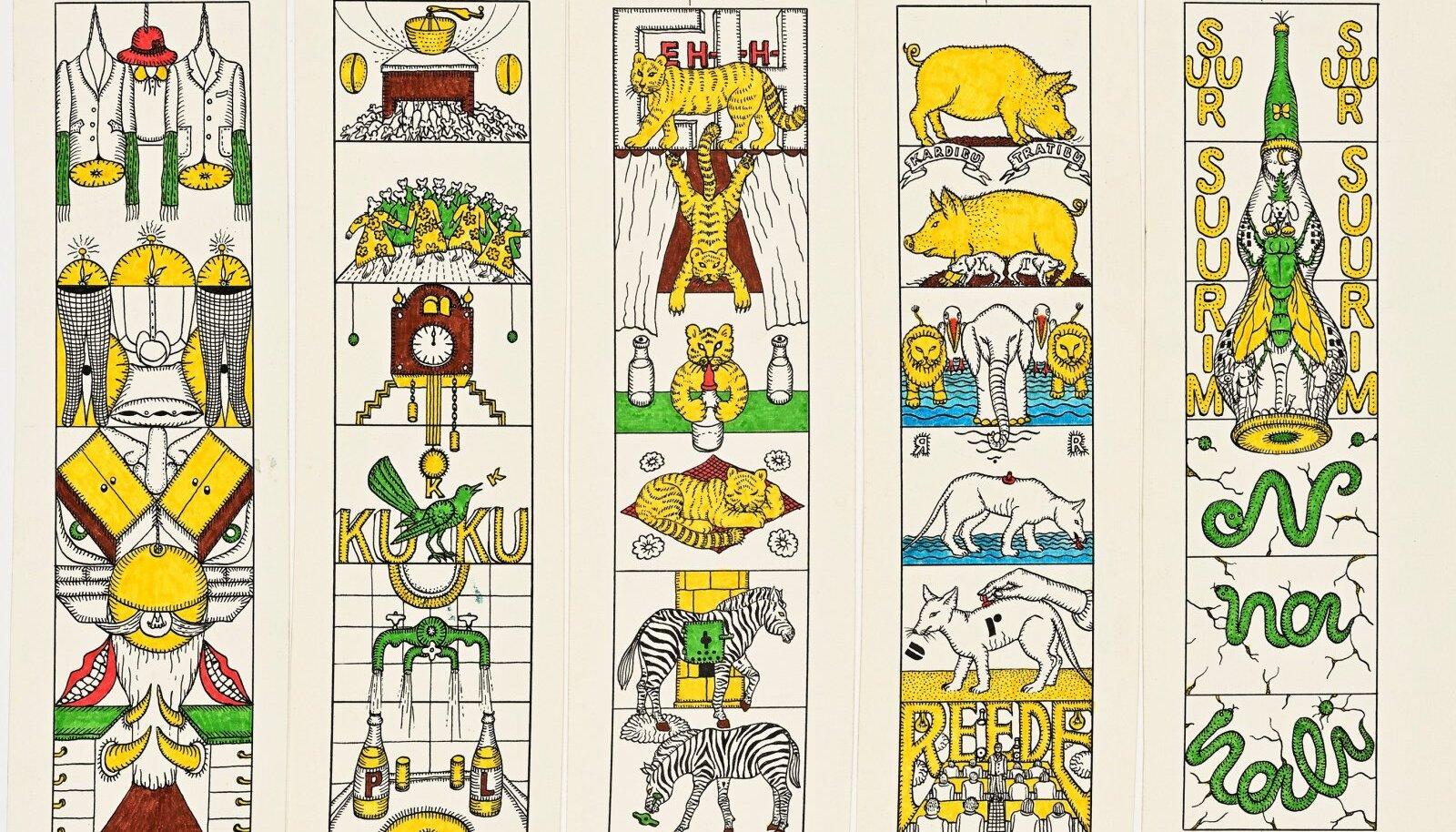 """Vello Vinn. Illustratsioonide kavandid Ly Seppeli """"Unenäoraamatule"""". 1984. Tušš, viltpliiats. Erakogu"""