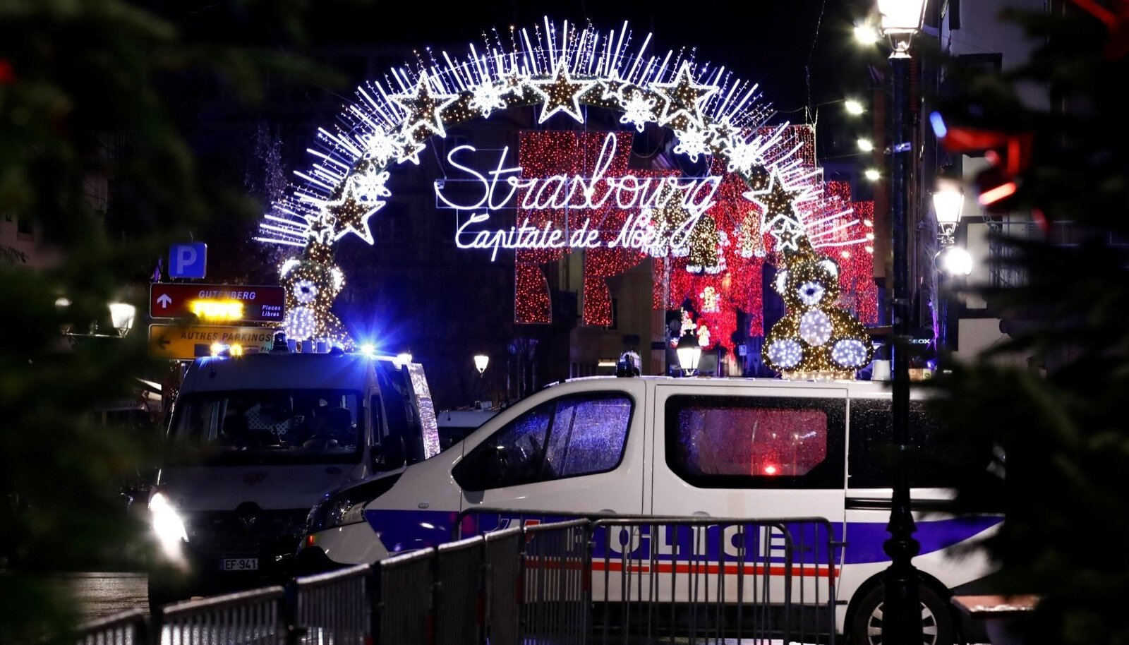 Police secures area where a suspect is sought after a shooting in Strasbourg