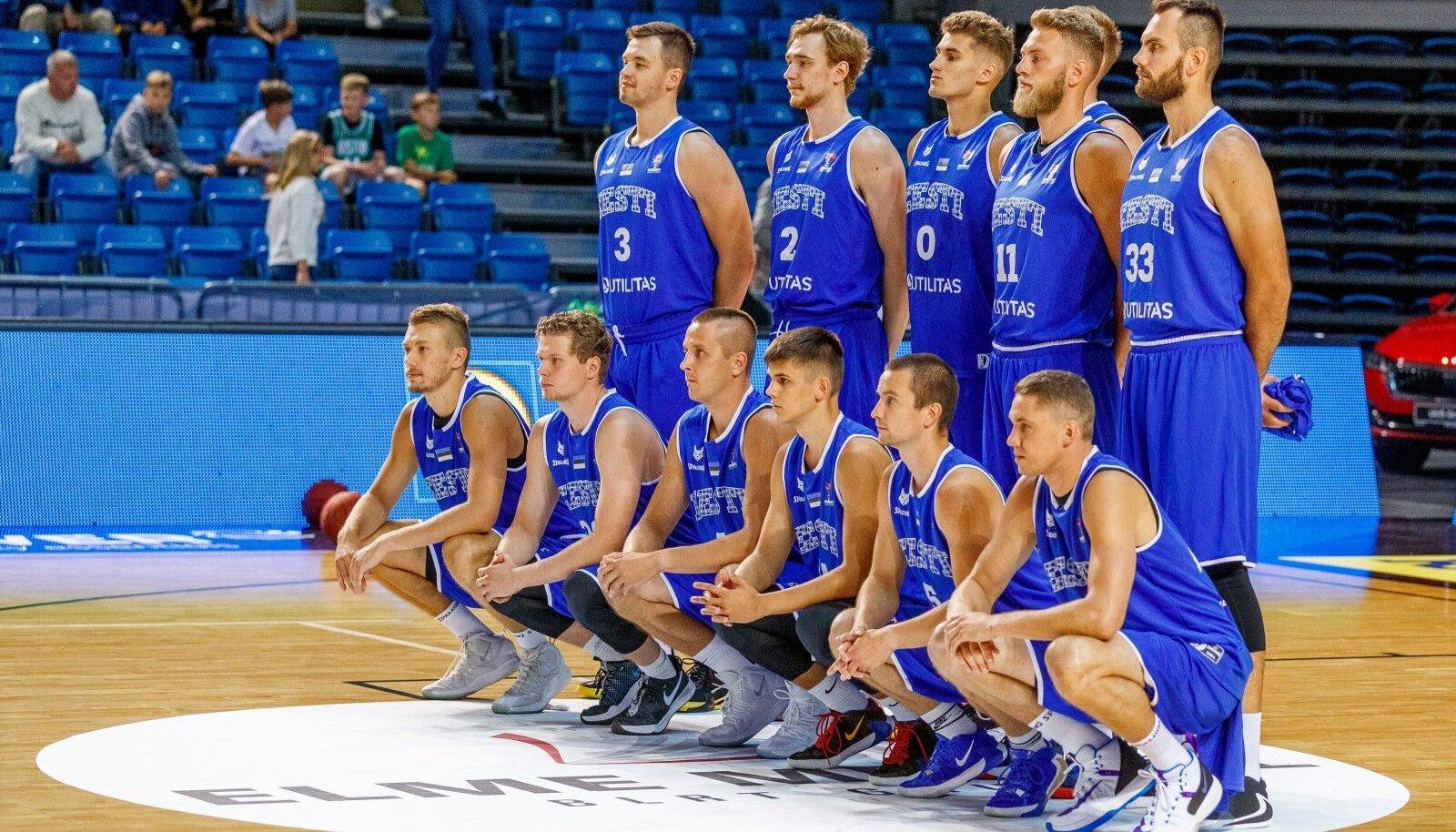 Eesti korvpallikoondis kohtumises Leeduga.