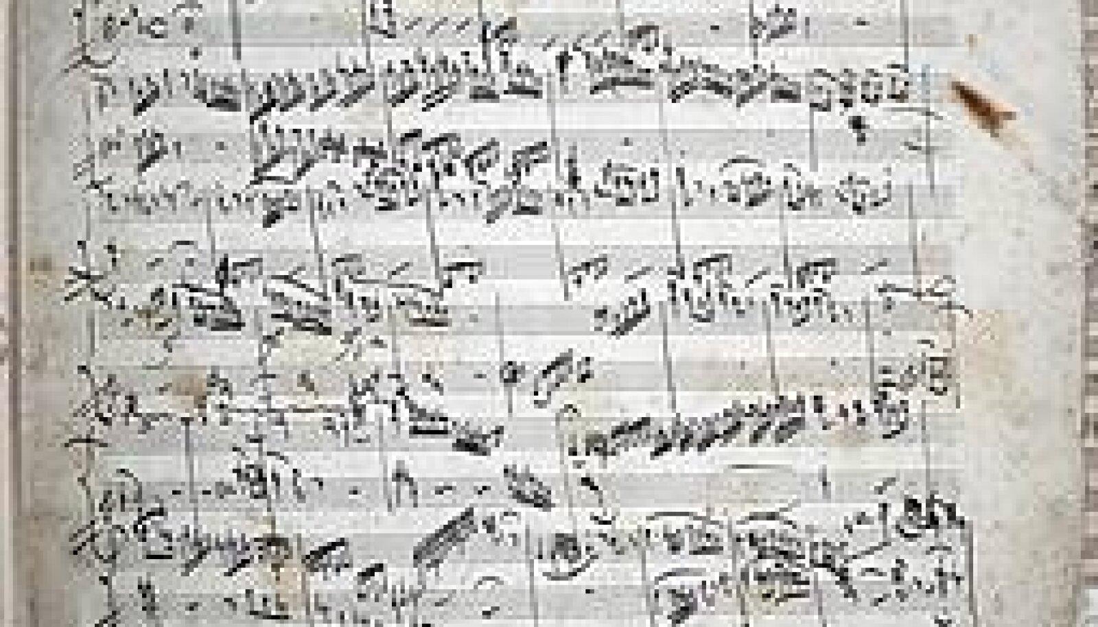 Muusika-ajalooline haruldus Tallinnas: Wolfgang Amadeus Mozarti 27. klaverikontserdi kadentside (1791) lehekülg. EESTI AJALOOMUUSEUM