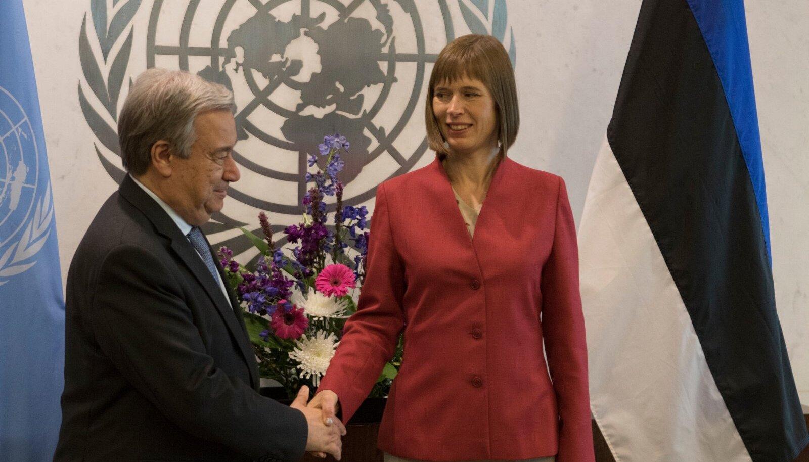 President Kersti Kaljulaid Nee Yorgis ÜRO peasekretäri Antonio Guterres'iga.