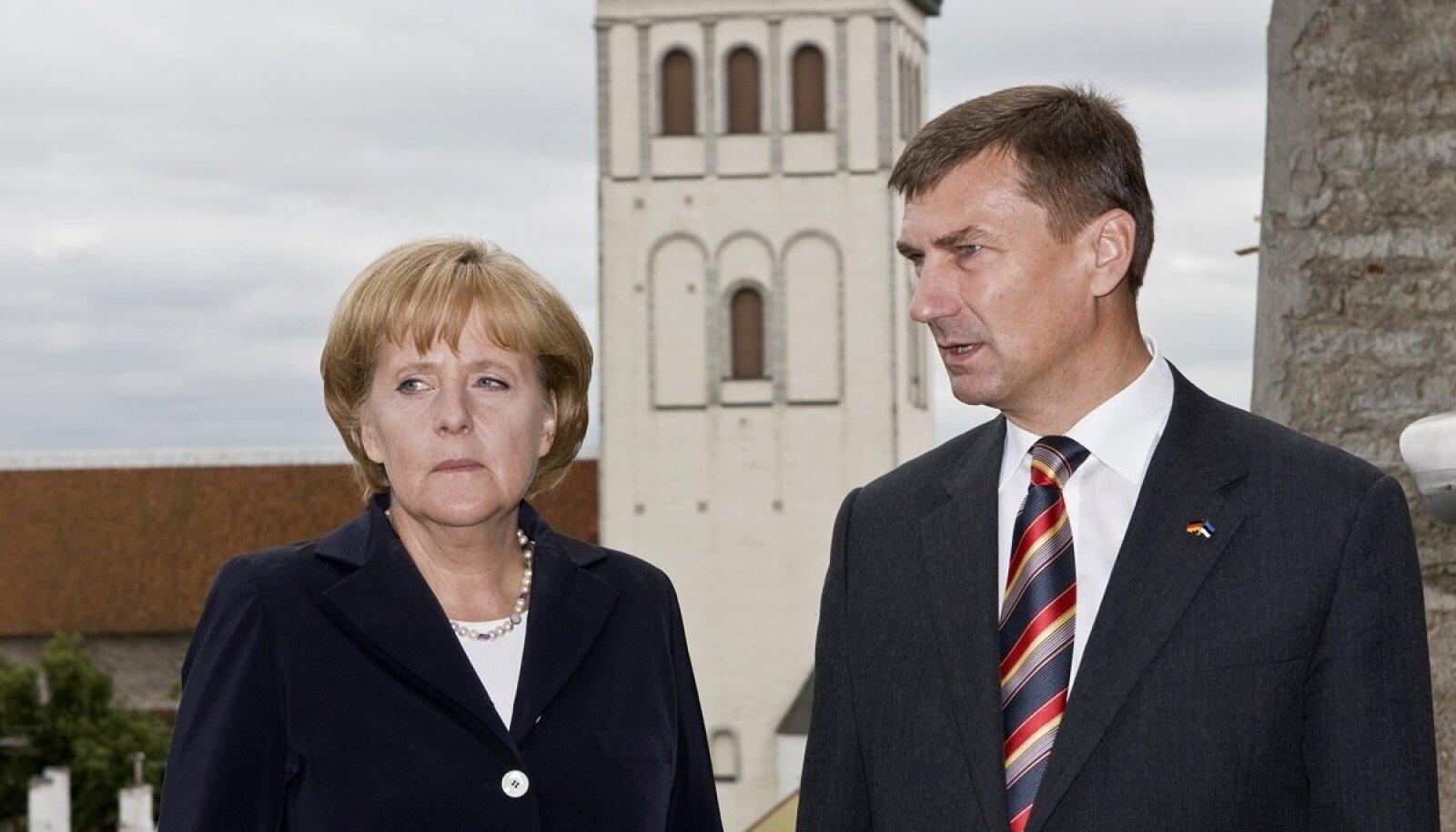 Angela Merkel käis 2008. aastal Eestis. Sel ajal peaminister olnud Andrus Ansipiga räägiti peamiselt toonasest olukorrast Gruusias.