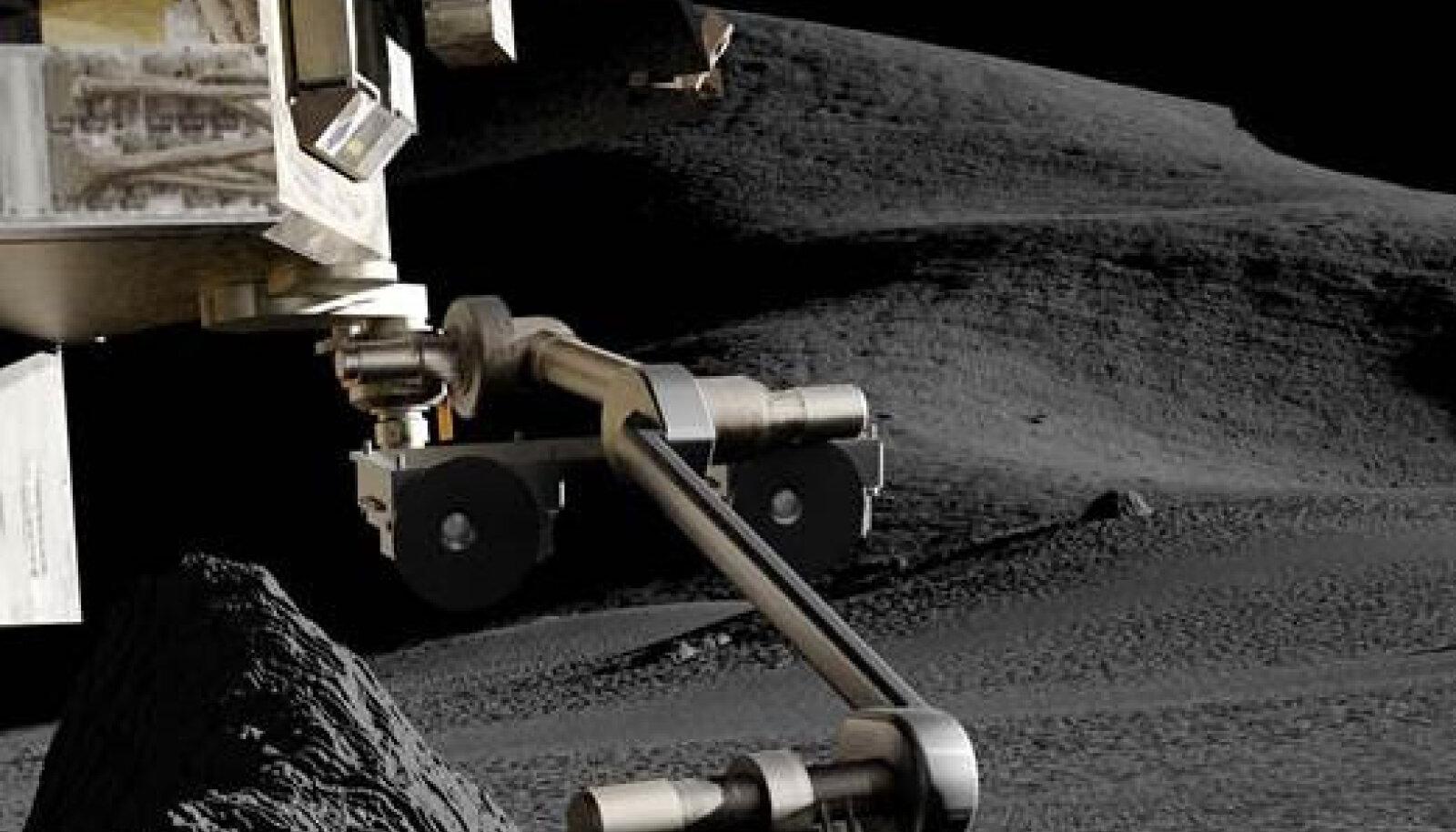 Illustratsioon pinnaseproovi võtmisest SAMPLR robotkäega, pildil näha ka CrystalSpace kaamerad.