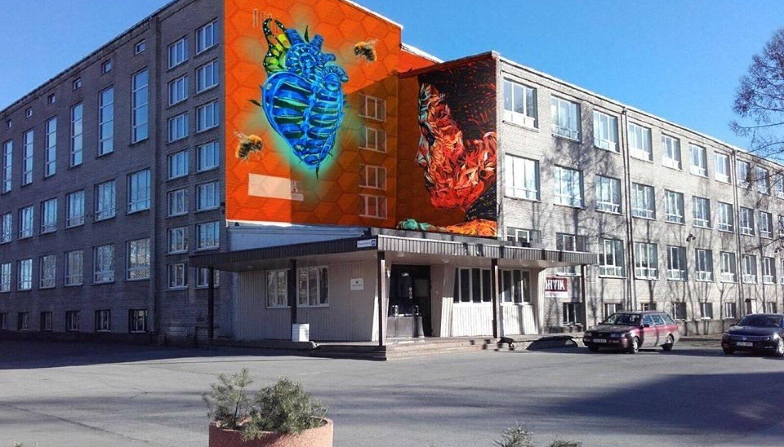 Эскиз граффити на здании нарвского Дома Народов - работа мексиканского уличного художника Benuz.