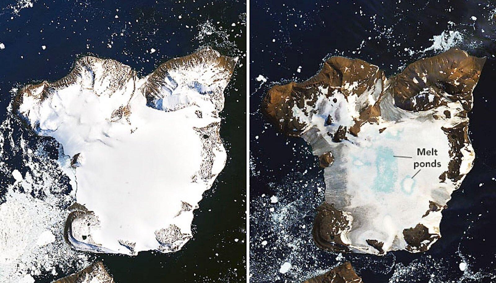 Fotol on näha Kotkasaar, jäise mandri kirdeosas asuv poolsaar, veebruarikuu kuumalaine alguses ja lõpus. Antarktikas oli sel kuul ajaloo kuumim päev: 20,7 soojakraadi. NASA andmetel mõõdeti samal päeval sama temperatuur Los Angeleses.