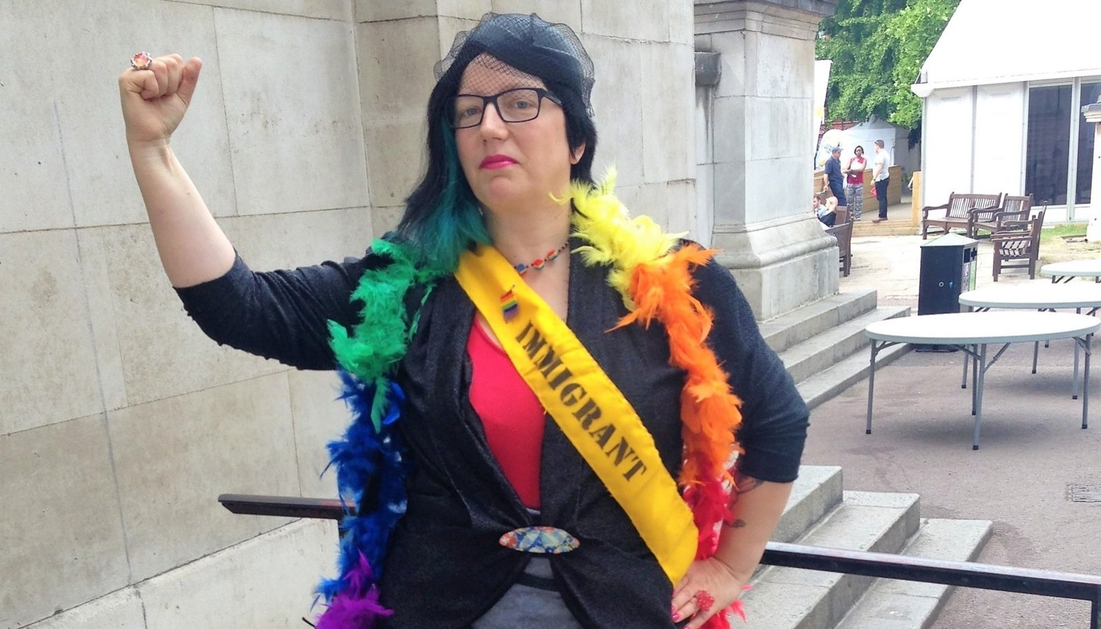 FEMINIST, AKTIVIST, KUNSTNIK: Mare Tralla 2015. aastal Pride in Londoni ajal, kui Tralla ja ta mõttekaaslased korraldasid Pride'i matuserongkäigu, protestides Pride'i kommertsialiseerumise vastu.