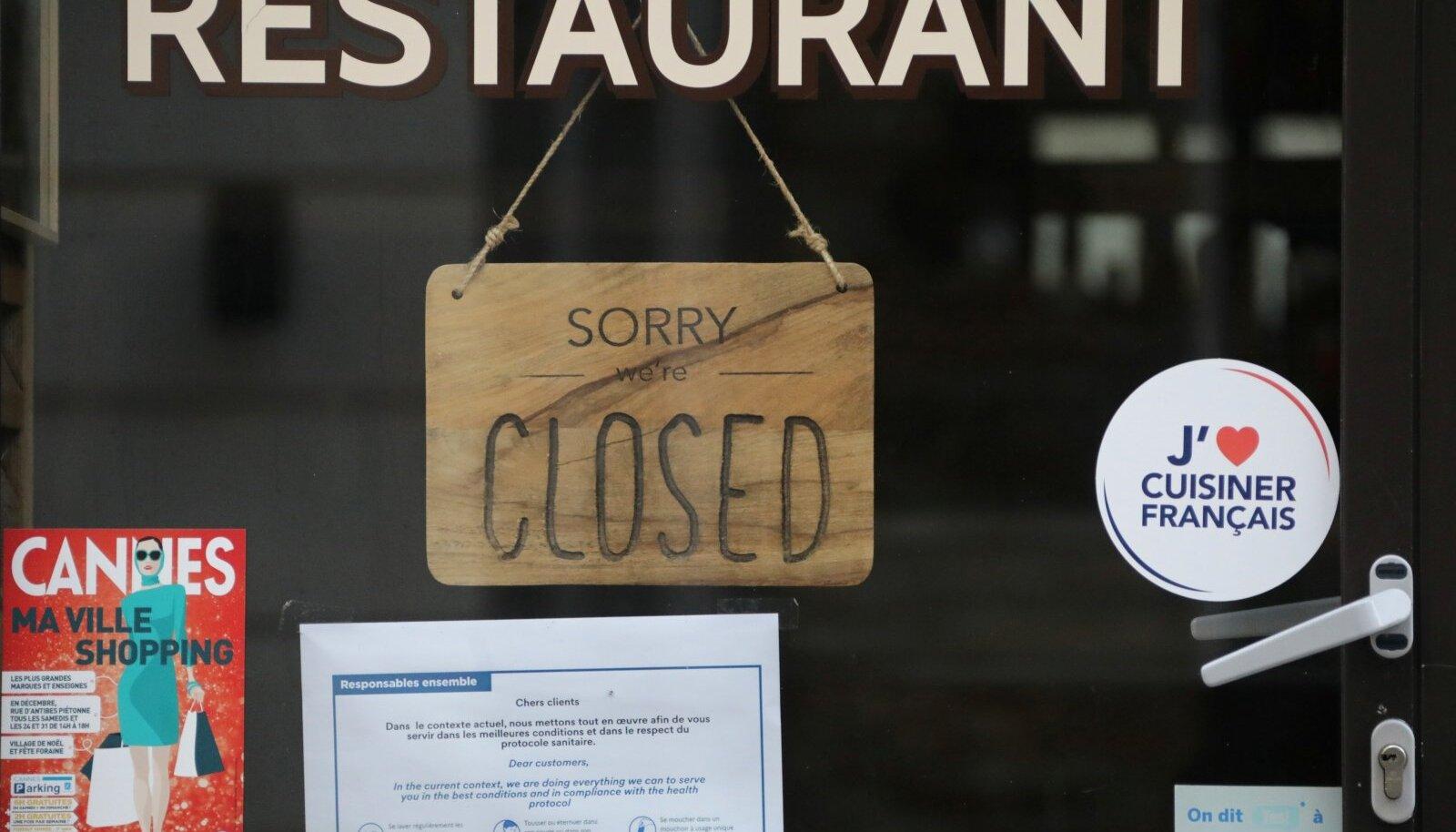Prantsusmaa restoranid on suletud. Sööge kodus.