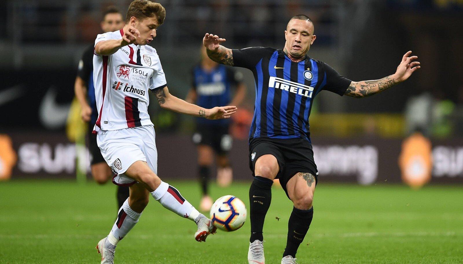 Nicolo Barella (vasakul) kohtumises Milano Interi vastu