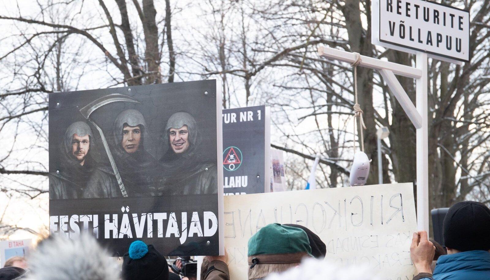 EKRE toetajad protestisid ränderaamistiku vastu.