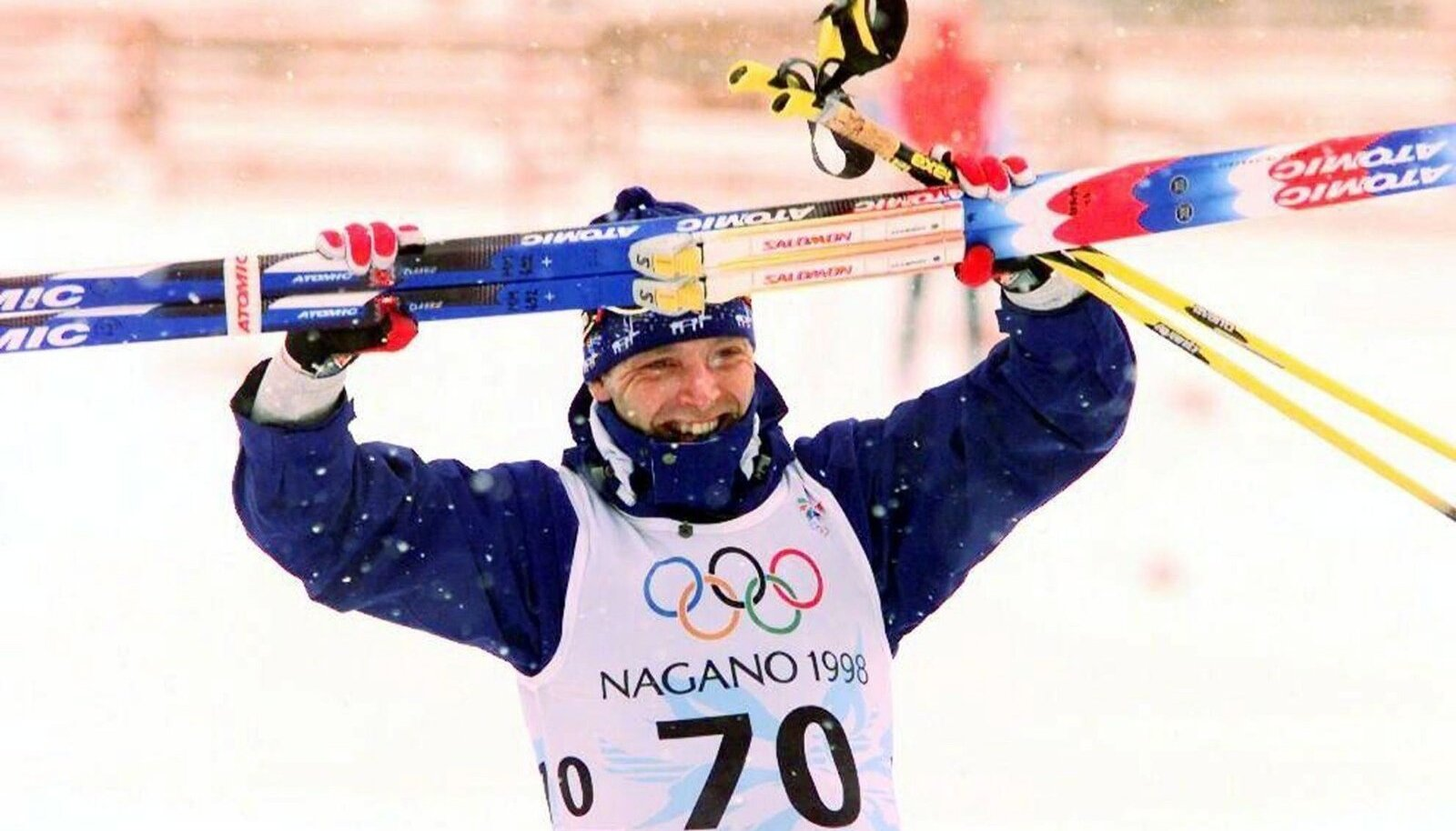 Finnish skier Mika Myllyla is seen after winning the 30km cross country race at the Nagano Olympics