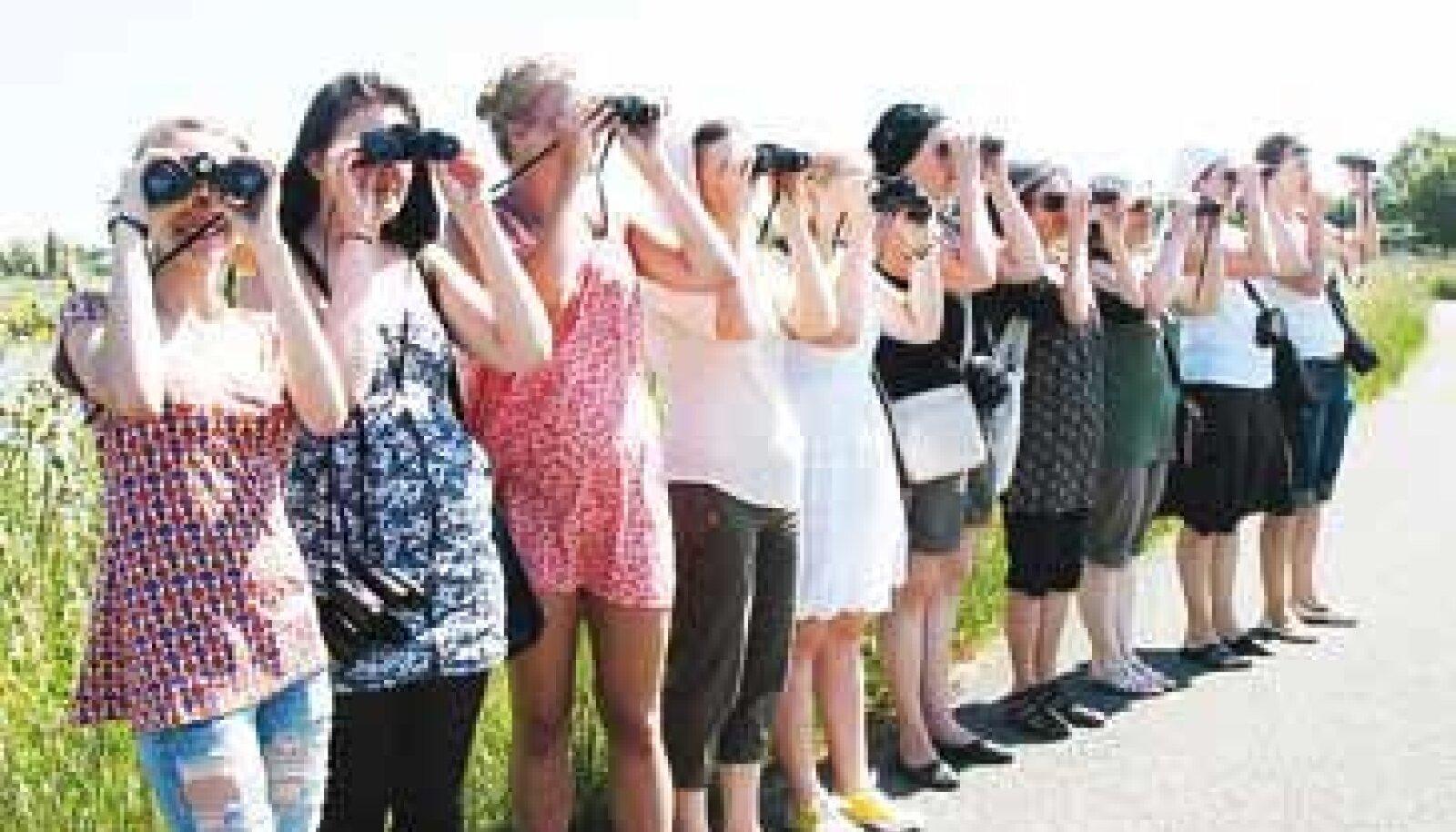 Projektis osalenud gümnaasiuminoored vaatavad Prantsusmaal tähtede poole.