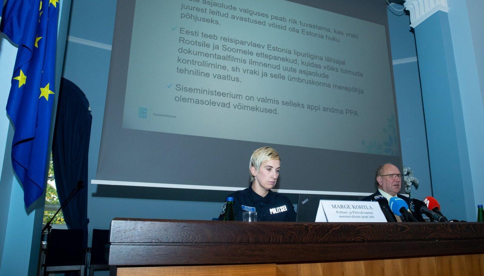 Tallinn, 01.10.2020. Siseminister Mart Helme selgitas koos PPA mereturvalisuse grupi juhi Marge Kohtlaga PPA tehnilist võimekust Estonia vraki ja selle ümbruskonna merepõhja vaatluseks.