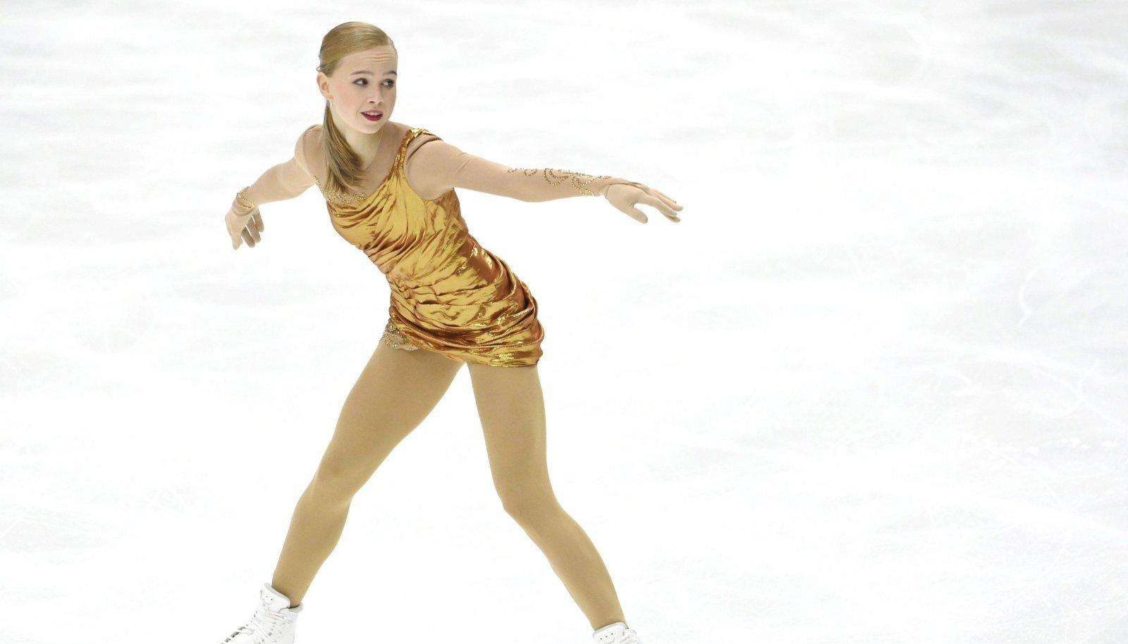 Eva-Lotta Kiibus Finlandia Trophy võistlusel vabakava esitamas.