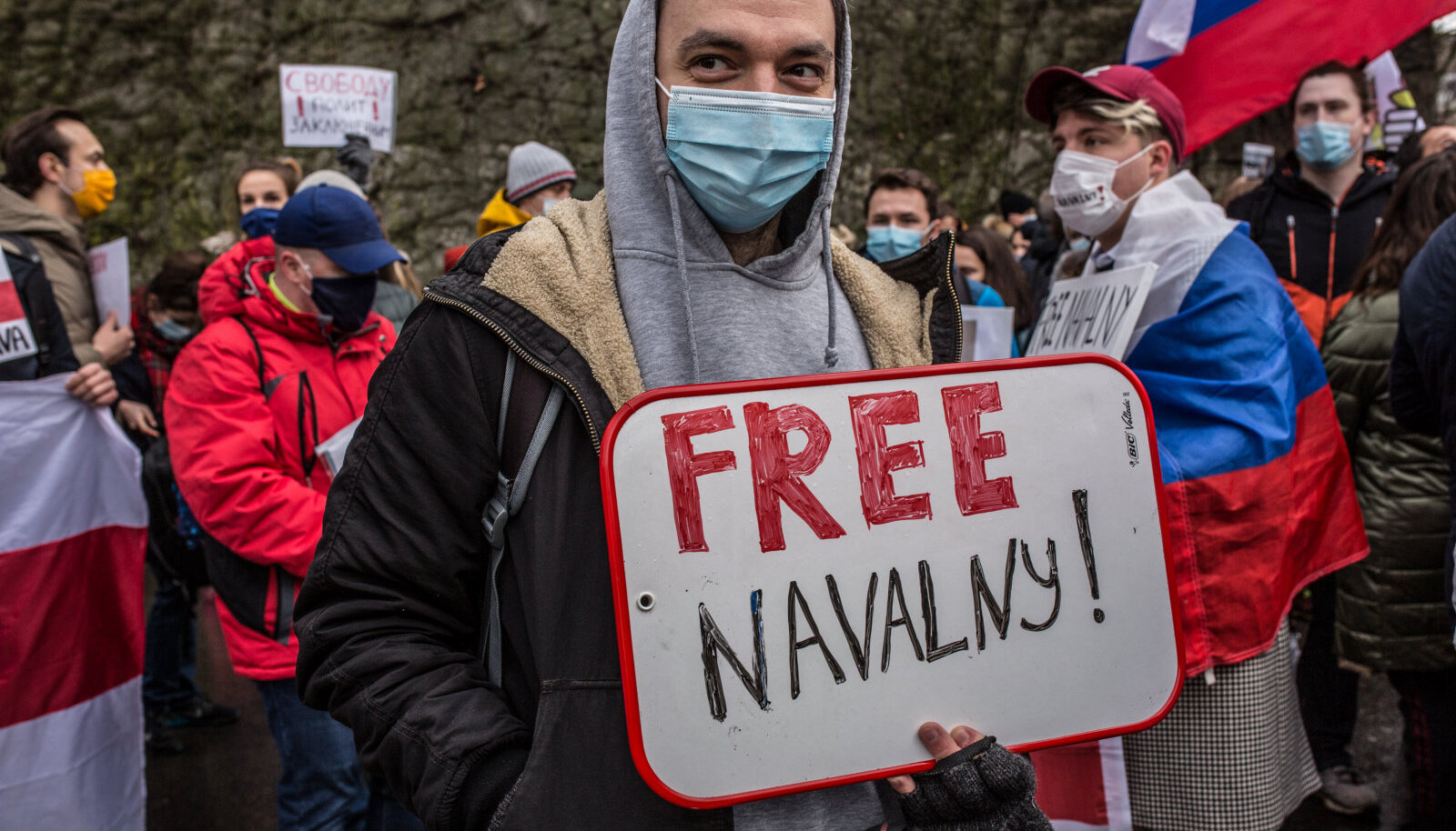 """Протесты в Москве. Плакат """"Свободу Навальному"""""""
