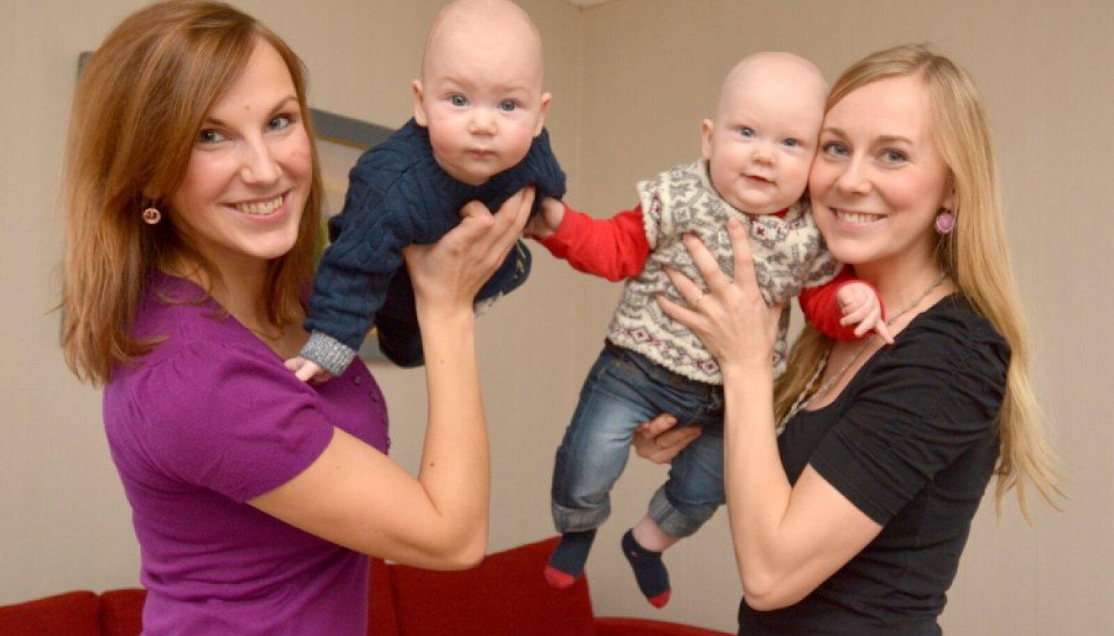Rõuge valla üliheale lasteaastale aitasid  kaasa ka Regina Ermel ja Hugo (vasakul)  ning Kristina Siska ja Jakob.