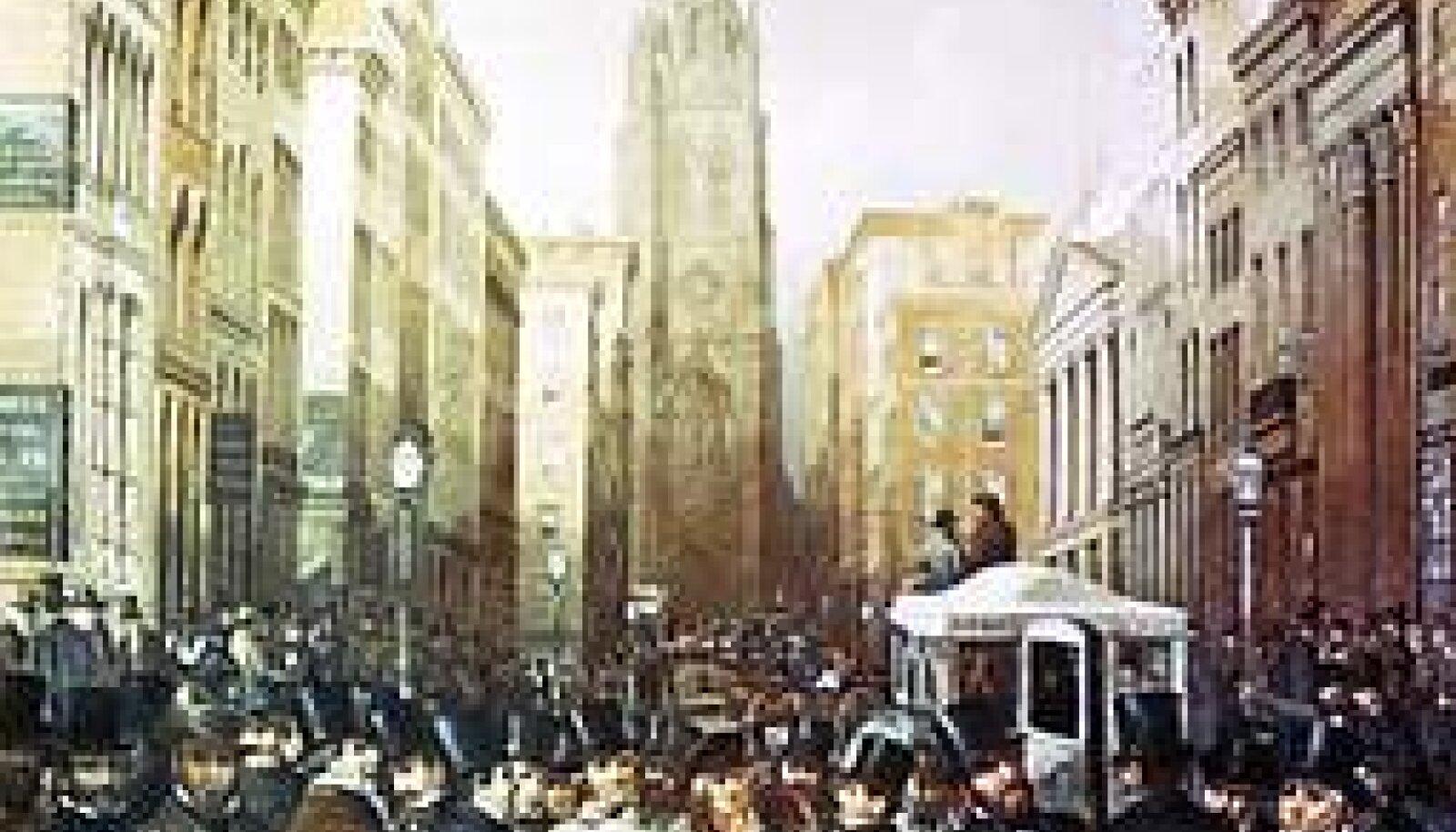 PAANIKA ALGAS: Sellisena jäädvustasid 13. oktoobri sündmused Wall Streetil kell pool kolm päastlõunal kunstnikud James H. Cafferty ja Charles G. Rosenberg. Praegu kuulub maal New Yorgi linna muuseumi kogudesse. REPRO