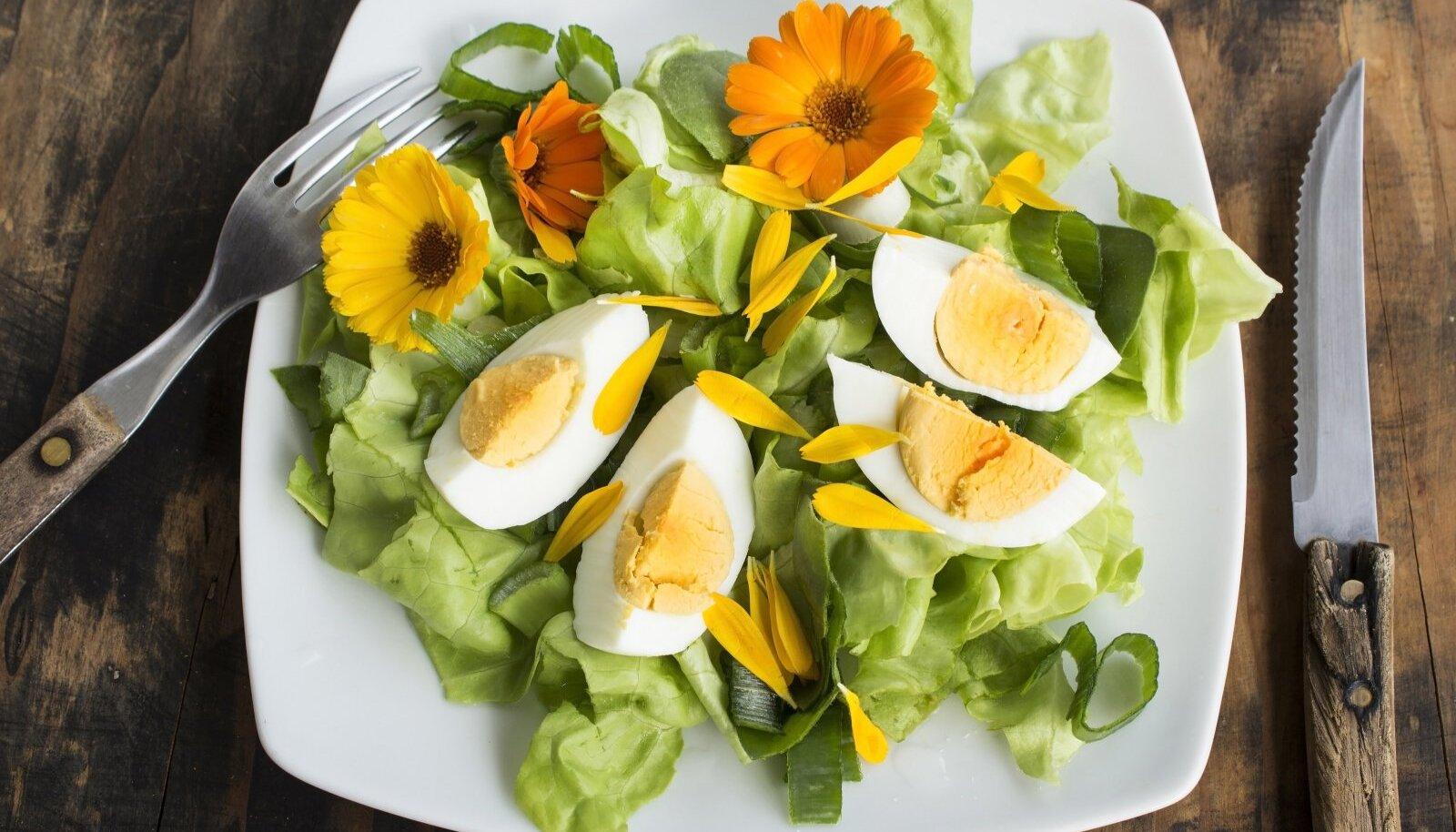 Söödavad saialille õied salatit kaunistamas.
