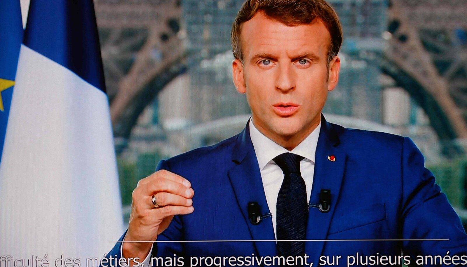 Prantsuse president Emmanuel Macron eilses telepöördumises.