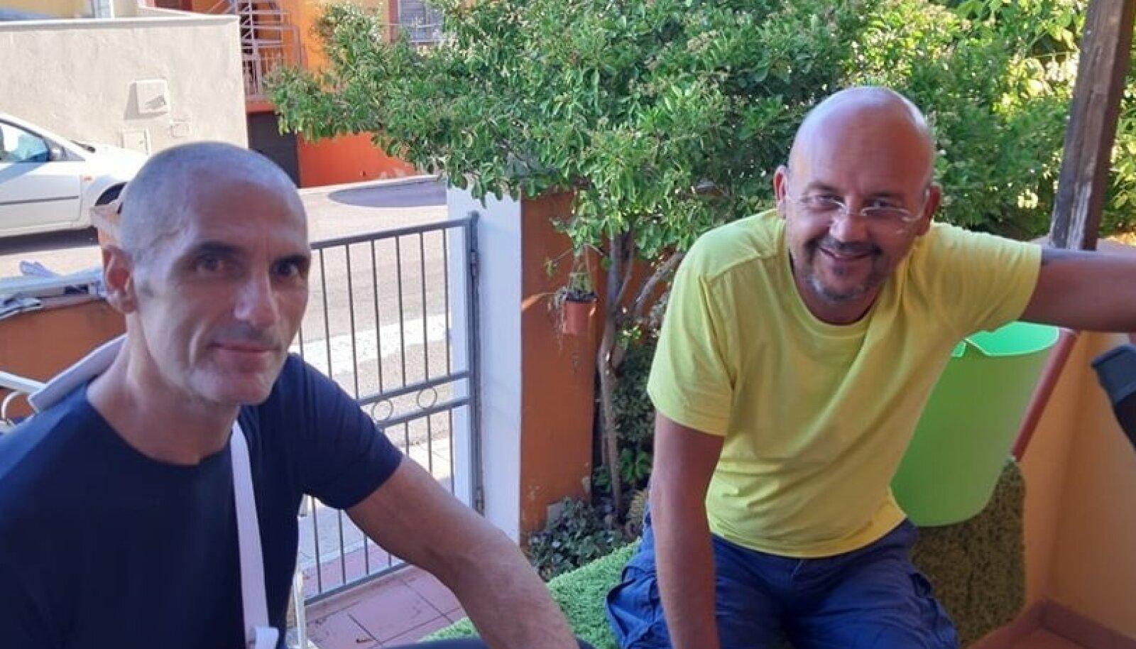 TAGASI KODUS: Giuseppe Uccula (vasakul) ja tema reisikaaslane Nello Cosenza (paremalt) on õnnetusest taastunud ja tagasi kodus.
